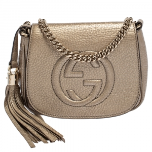 Gucci Metallic Gold Leather Soho Chain Crossbody Bag