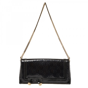 Gucci Black GG Patent Leather Flap Chain Clutch