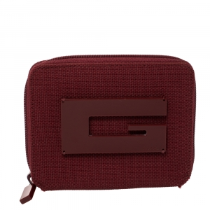 Gucci Red Canvas Logo Zip Around Compact Wallet