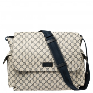Gucci Beige/Blue GG Supreme Canvas Messenger Diaper Bag