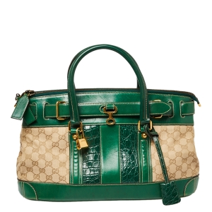 Gucci Beige/Green GG Canvas/Leather and Crocodile Secret Satchel