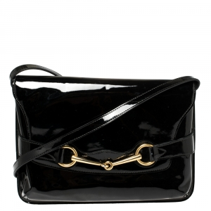 Gucci Black Patent Leather Bright Bit Crossbody Bag