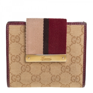 Gucci Beige/Brown GG Canvas Web Flap French Wallet