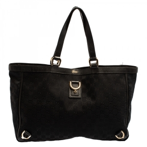 Gucci Black GG Canvas and Leather Abbey D-Ring Tote