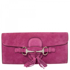 Gucci Fuchsia Suede Crystal Horsebit Broadway Clutch