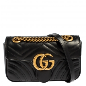 Gucci Black Matelasse Leather Mini GG Marmont Shoulder Bag