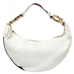 Gucci White Leather Medium Web Bamboo Ring Hobo