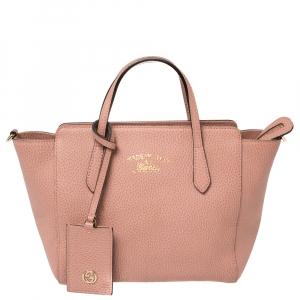 Gucci Pink Leather Mini Swing Tote