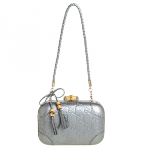Gucci Metallic Silver Guccissima Leather Broadway Bamboo Lock Clutch