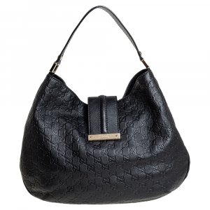 Gucci Black Guccissima Leather Medium New Ladies Web Hobo