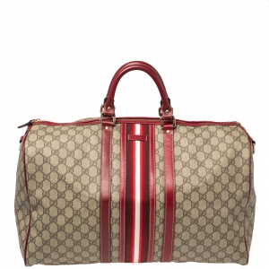 Gucci Beige GG Supreme Canvas Web Carry-on Medium Duffle Bag
