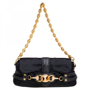 Gucci Black Satin and Karung Skin Leather Horsebit Embellished Pochette Bag