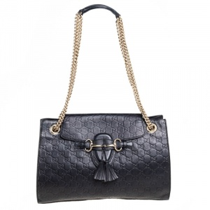 Gucci Black Guccissima Leather Large Emily Chain Shoulder Bag