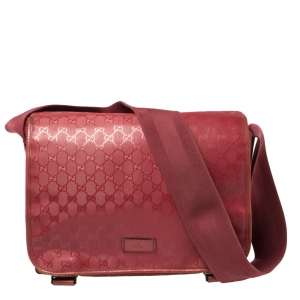 Gucci Dark Pink GG Imprime Coated Canvas Messenger Diaper Bag
