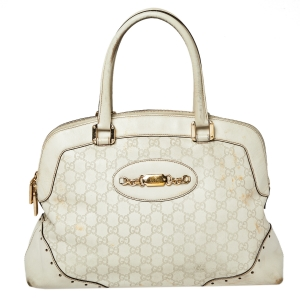 Gucci Off White Guccissima Leather Large Punch Satchel
