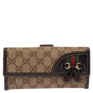 Gucci Beige/Brown GG Canvas and Leather Horsebit Tassel Continental Wallet