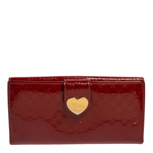 Gucci Red Microguccissima Patent Leather Heart Continental Wallet