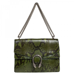 Gucci Green Python Medium Dionysus Shoulder Bag