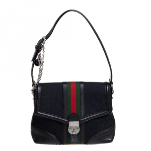 Gucci Black GG Canvas and Leather Web Treasure Shoulder Bag