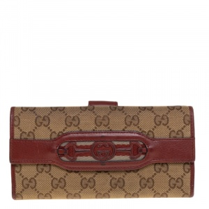 Gucci Beige/Copper GG Canvas and Leather Flap Continental Wallet