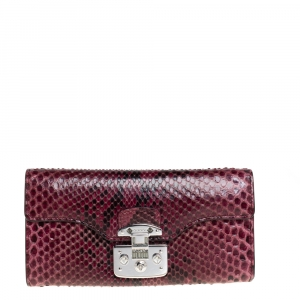 Gucci Burgundy Python Lady Lock Wallet on Chain