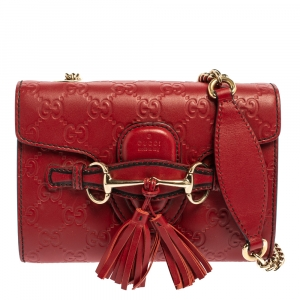 حقيبة كتف غوتشي إيميلي جلد غوتشيسيما صغيرة بسلسلة أحمر
