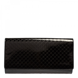 Gucci Black Microguccissima Patent Leather Broadway Clutch
