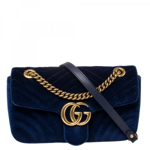 Gucci Blue Matelasse Velvet Small GG Marmont Shoulder Bag