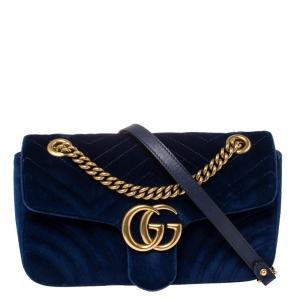 حقيبة كتف غوتشي مارمونت جي جي غيرة قطيفة مبطنة أزرق