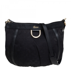 Gucci Black GG Canvas and Leather D Ring Shoulder Bag