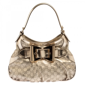 Gucci Light Gold Guccissima Leather Medium Queen Hobo