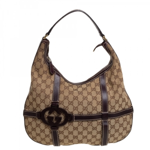 Gucci Beige/Ebony GG Canvas and Leather Royal Hobo