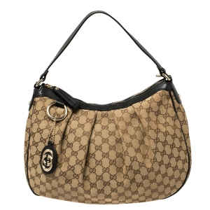 Gucci Beige/Black GG Canvas and Leather Medium Sukey Hobo