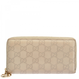 Gucci Beige White Guccissima Leather Zip Around Wallet