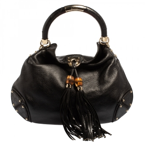 Gucci Black Leather Large Babouska Indy Hobo