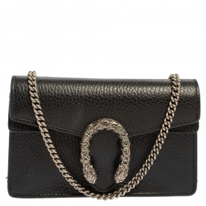 Gucci Black Leather Super Mini Dionysus Crossbody Bag