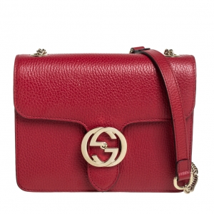 Gucci Red Leather Dollar Interlocking Crossbody Bag