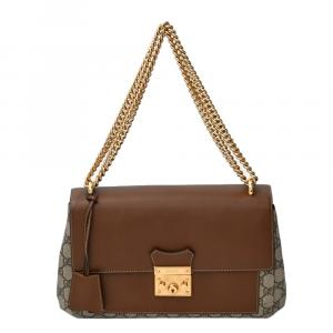 Gucci Beige/Brown GG Coated Canvas and Leather Padlock Shoulder Bag