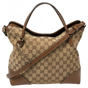 Gucci Beige/Brown GG Canvas and Leather Medium Bree Tote