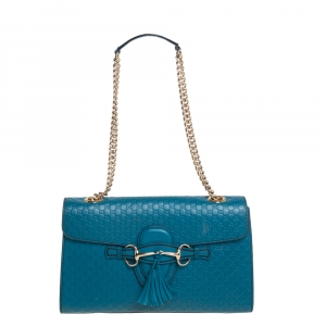 Gucci Teal Microguccissima Leather Medium Emily Chain Shoulder Bag