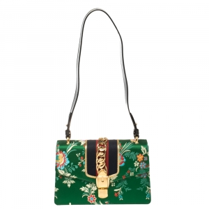 Gucci Green Floral Brocade Satin and Leather Small Web Sylvie Top Handle Bag