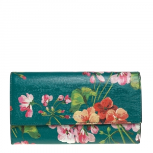 Gucci Multicolor Floral Print Leather Flap Continental Wallet