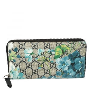 Gucci Multicolor GG Supreme Canvas Blooms Zip Around Wallet
