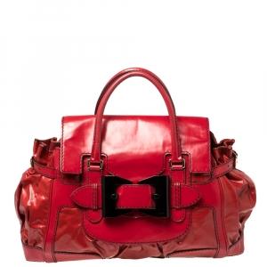 حقيبة يد غوتشي ديالوكس كوين كبيرة جلد وكانفاس مقوى أحمر