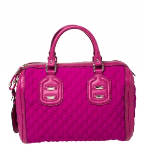 Gucci Magenta GG Neoprene and Leather Medium Techno Tag Boston Bag