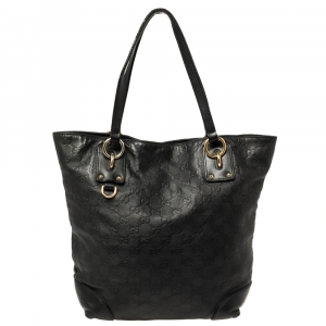 Gucci Black Guccissima Leather Charm Tote
