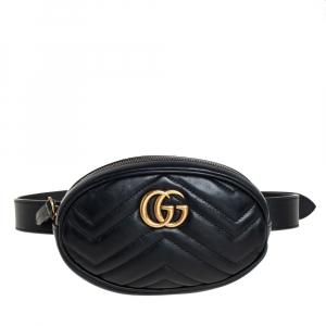 Gucci Black Chevron Leather GG Marmont Belt Bag