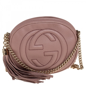 Gucci Old Rose Leather Mini Soho Disco Chain Crossbody Bag