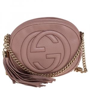 Gucci Old Rose Leather Mini Soho Disco Chain Crossbody Bag
