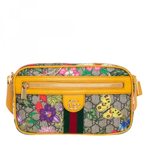Gucci Multicolor Flora GG Supreme Coated Canvas and Leather Ophidia Belt Bag